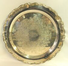 Wm A Rogers Serving Tray Platter Engraved Silver Plate Georgian Scroll 0051010