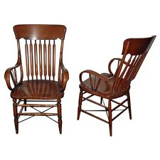 Pair of Oak Arrow Back Arm Chairs, Americana #3461
