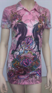 Original Christian Audigier Faith Women Polo Shirt (New With Tag)  Retail $99.00