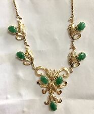 Estate Vintage Elaborate Jade Floral Necklace 14k Yellow Gold