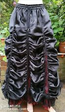 Darkstar FREESIZE Long Ruched Hitched Ruffle Black & Red Satin & Lace Goth Skirt