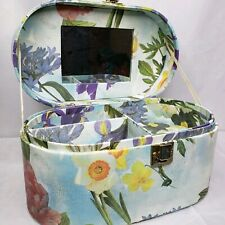 Vintage Cosmetic Travel Case Mini Luggage Carrier Floral Thick Heavy Cardboard