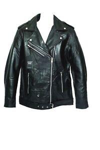 AIAKU Men's Buffalo Genuine Leather Biker Jacket in Black size M, L,XL,XXL