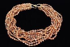 CINER 9 Strands of Bronze Crystals Choker Necklace