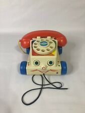 FISHER PRICE Telephone Retro Style 2009 Pull Toy works eyes move phone rotary