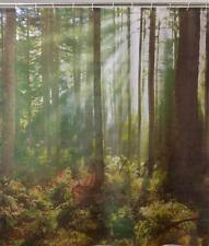 Forest Trees With Sun Shining Though Bathroom Shower Curtain Polyester