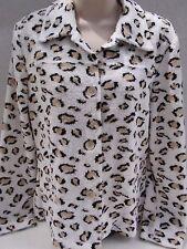 Ladies Supply & Demand Leopard Print Fleece Boucle Button Down Jacket Viscose M