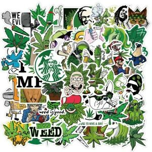 Weed Stickers Vinyl Decal Sticker Grass Cannabis Pothead Marijuana Hippie 50pcs