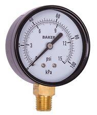 Baker LVBNA-15P Pressure Gauge, 0-15 PSI / 0-100 kPa