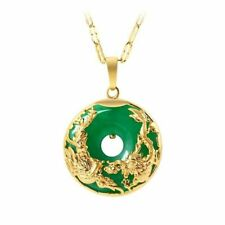 Green Jade Emerald Pendant 14K Gold Necklace Emerald Pendants Women Luxury