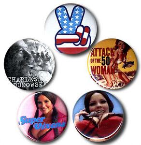Nostalgie - 70er Jahre Kultur - Seventies Nerd Buttons - Anstecker - 5er Set