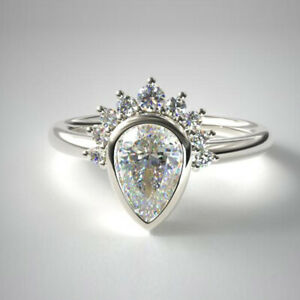 0.76 Ct Real Pear Cut Diamond Engagement Ring Solid Platinum Band Size 5.5 6 7 8