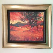 ROLF HARRIS SIGNED LIMITED EDITION FRAMED PRINT 120 OF 195 ROCKY OUTCROP SUNSET