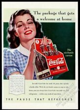 1940 Coke smoling woman with bottle six-pack Coca Cola vintage print ad