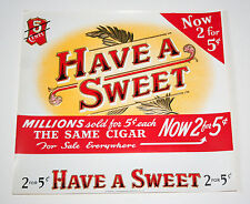 Lot 2 Lg Have a Sweet 5 cent Cigar Box Label Unused NOS New 1940-50s Tobacco