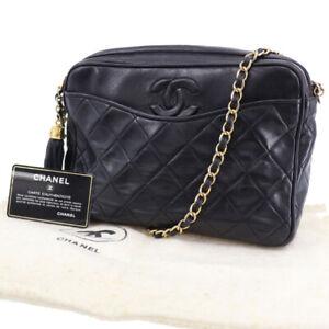 CHANEL CC Logos Matelasse Shoulder Bag Black Lambskin Leather Italy Auth #ZZ771