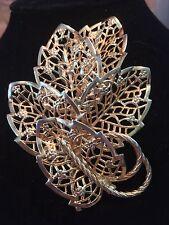 Vintage Signed Judy Lee Filigree Leaf Gold Tone Floral Motif Brooch *BEAUTIFUL*