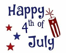"""Happy 4th of July Decal Sticker for 8"""" Glass Block DIY Crafts"""