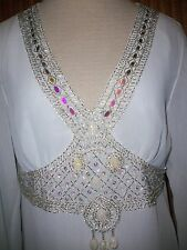 DG2 DIANE GILMAN* White Sequin Stones Bead Satin Lined BLOUSE Tunic Shirt Top  S