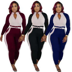 NEW Women Fashion Zipper Long Sleeves Color Patchwork Skinny Jumpsuit 2pcs Club