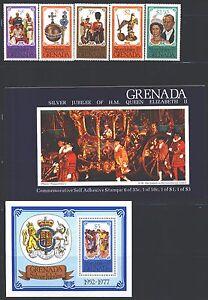 GRENADA 788-93 SG857-61,MS862,SB1 MNH 1977 Jubilee set of 5+MS+Booklet Cat$7