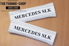 """2x pastillas de cubiertas de cinturón de seguridad de cuero blanco """"Bordado de Mercedes SLK"""" para Mercedes"""