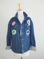 Retro Unisex Size L Denim Jean Jacket with Alaska+International Balloon Patches