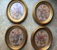 Vintage Oval Flower Pictures in Gold Tone Wooden Frames ~ Fpc N.Y.C.