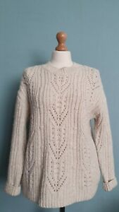 Massimo Dutti Soft Chunky Cable Knit Cream Jumper Size S