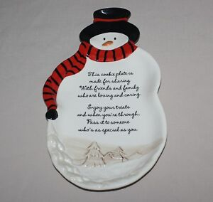 "14"" Snowman Figural Christmas Cookie Plate Grasslands Road 317 461402"