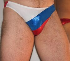 Mens thong mystique red white blue diagonal color block custom  USA