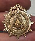 1945 Masonic White Plains NY Lodge No. 473 GOLD Freemason Symbol Medal i65191