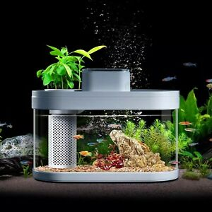 Geometry Fish Tank Smart Aquarium Feeder LED Light Self Clean Filter App Control