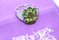 Sterling Silver 3.6 ct Genuine Solitaire Peridot Emerald Accent Ring Band Sz 6.5