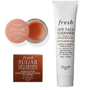 New FRESH Mini 2/set - NIB Sugar caramel Lip Balm(2g) + Soy Face Cleanser(20g)