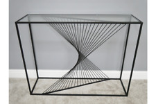 Black Metal Twist Console Table With Glass Top 107 cm Wide