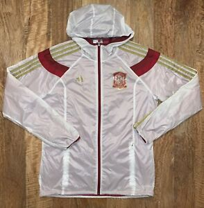 Spain Espana Football Team Soccer Jacket Adidas Mens Size Medium Windbreaker