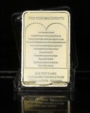 1 OZ GOLD PLATED JESUS ON THE CROSS 10 COMMANDMENTS BAR GOD CHRISTIANITY UK
