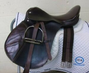 "QUALITY -BROWN English SHOW Saddle TACK LOT - 16 1/2"" -Leathers/Irons/Girth/Pad"