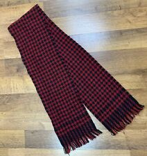 "Houndstooth Scarf Maroon Black Winter Acrylic 58""x8"""