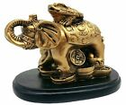 Feng Shui Money Frog (Toad) on Lucky Elephant Statue Figurine Decor for Wealth