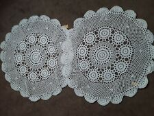 "Set of 2 white Hand Crochet Crocheted Round Doilies matching pattern new 22"" dia"