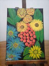 TABLEAU FLEURS FRUITS NATURE MORTE peinture Acrylique  NADINE PETRY