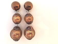 BOUCLES D'OREILLE ANNEES 70 BOULES AVEC FILETS VINTAGE FRENCH EARRINGS
