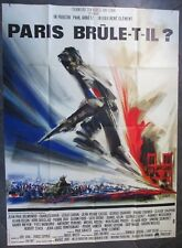 "Affiche cinéma  "" Paris brule t-il ? ""   DELON/ BELMONDO/ TRINTIGNANT  120 x 160"