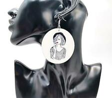 CG5657...LARGE ROUND EARRINGS OF A GIRL - FREE UK P&P