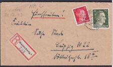 DR Mi Nr. 827, 794 MiF R- Fernbrief, Braunschweig - Leipzig 02.11.1943