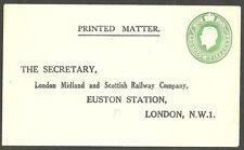 GEORGE V 1/2D ENVELOPE PRE PRINTED ADDRESS LONDON MIDLAND SCOTTISH RAILWAY CO