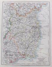 OLD ANTIQUE MAP SOUTH EAST IRELAND by JOHNSTON c1910