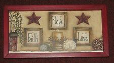 PRIMITIVE COUNTRY FAITH HOPE LOVE WILLOW TREE LAMB STAR SALT BOX HOUSE WALL DECO